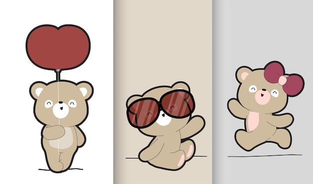 Insieme dell'illustrazione della raccolta dell'orso bruno del bambino sveglio piatto