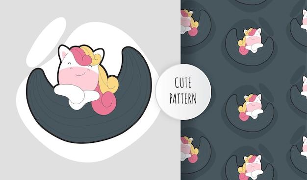Piatto carino baby unicorno sul set di pattern di luna