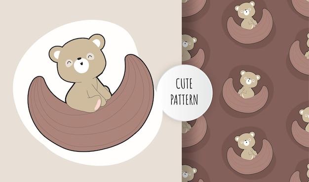 Piatto carino orso bruno sul set di pattern di luna