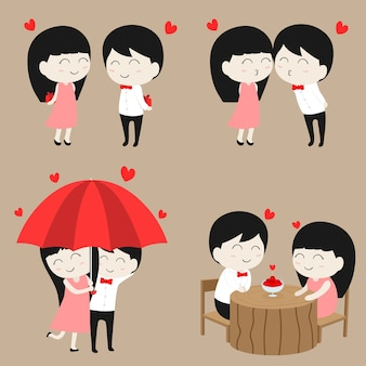 Piatto carino personaggio dei cartoni animati amore coppia nel set di raccolta di san valentino