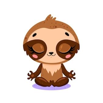 Piatto carino cartone animato doodle bradipo meditazione animali della giungla tropicale meditare animali yoga