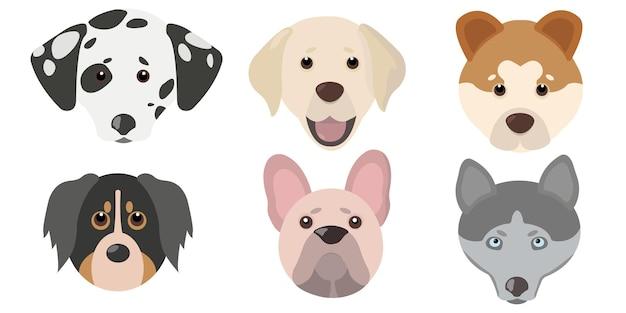 Set testa di cane carino piatto. illustrazione