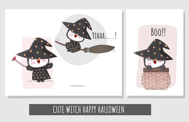 Set piatto carino di illustrazione di halloween felice del personaggio della strega del pinguino per i bambini