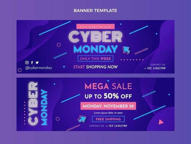Set di banner orizzontali piatti cyber lunedì