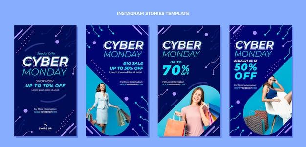 Raccolta di storie di instagram di cyber lunedì piatto