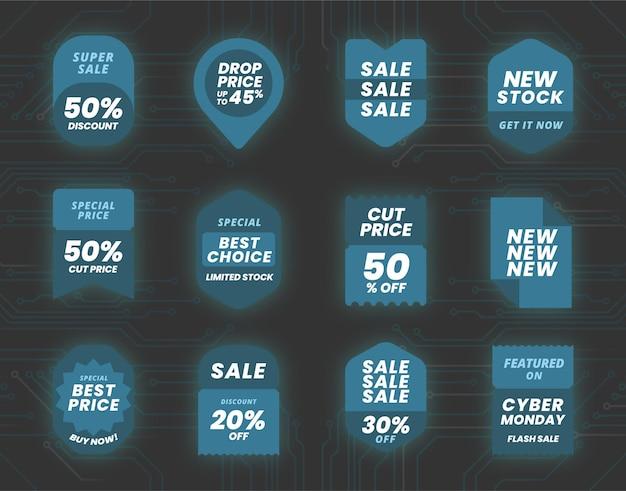Collezione di etichette per la vendita del cyber lunedì piatto