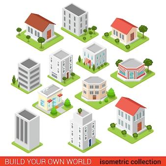 Piatto d isometrico building block piccola impresa ristorante ristorante negozio infografica concetto