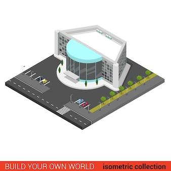 Piatto d isometrico cinema intrattenimento centro commerciale discoteca night club building block concetto infografico
