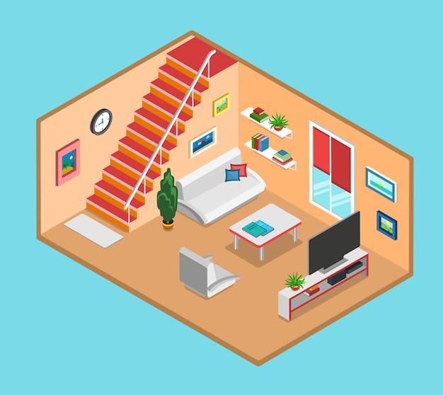 Piatto d isometrica soggiorno interno web infografica concetto