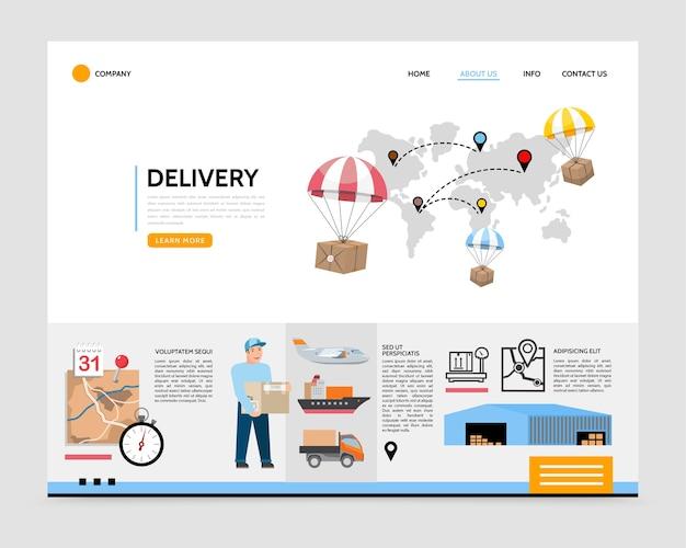 Modello di pagina di destinazione del servizio di consegna piatta