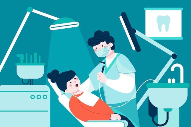 Illustrazione del concetto di cura dentale piatta