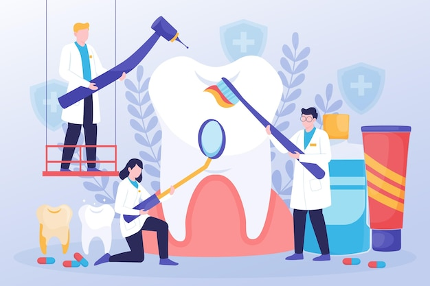 Illustrazione di concetto di cure odontoiatriche piatte