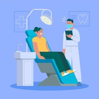Concetto di cure odontoiatriche piatto