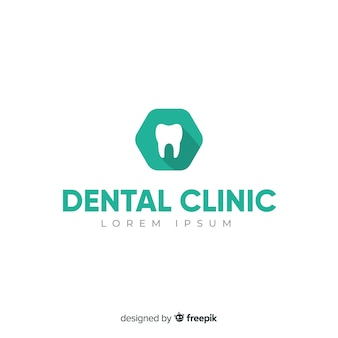 Fondo di logo della clinica dentale piatta
