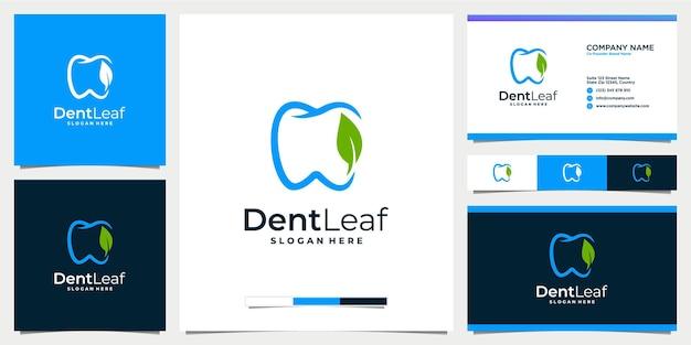 Logo della clinica dentale e fogliare piatto con modello di biglietto da visita
