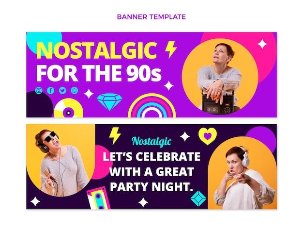 Bandiere orizzontali di musica anni '90 design piatto