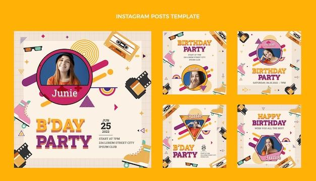 Design piatto anni '90 nostalgico compleanno post instagram