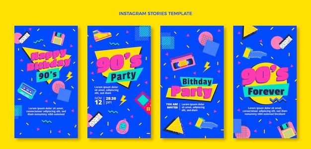 Design piatto anni '90 nostalgiche storie di instagram di compleanno