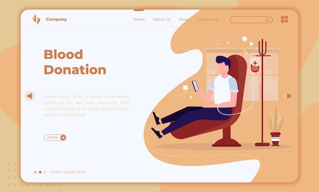 Design piatto sulla donazione di sangue sulla landing page