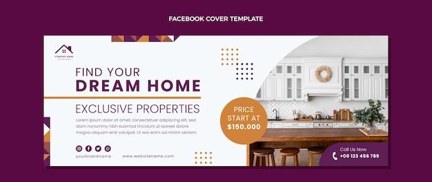 Copertina facebook immobiliare geometrica astratta design piatto