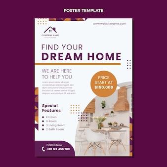 Poster immobiliare geometrico astratto design piatto
