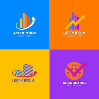 Collezione di logo di contabilità design piatto