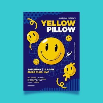 Poster di emoji acido design piatto