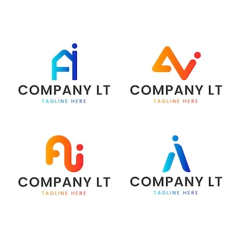 Collezione di modelli di logo ai design piatto