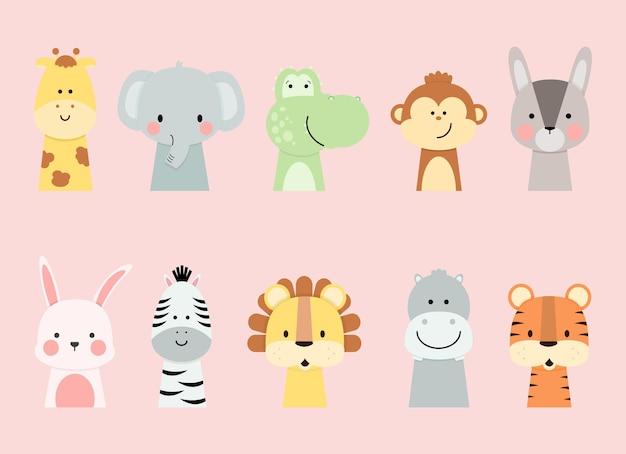 Collezione di animali dal design piatto