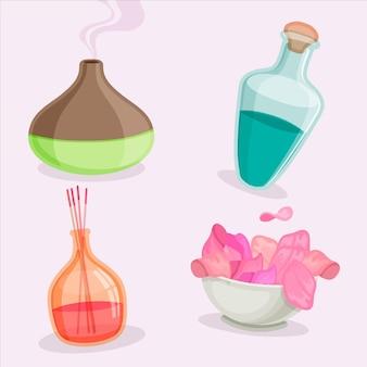 Collezione di elementi di aromaterapia design piatto