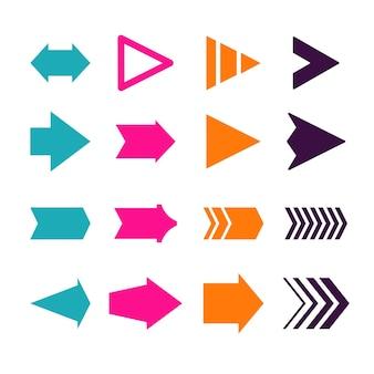 Collezione di frecce di design piatto