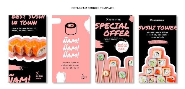 Storie di instagram di cibo asiatico dal design piatto