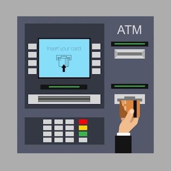 Design piatto del bancomat con la mano. inserimento di carta di credito su bancomat