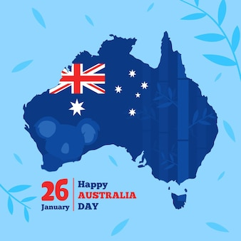 Design piatto australia day con mappa australiana