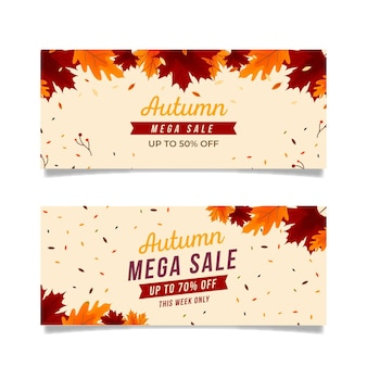 Pack di banner vendita autunno design piatto