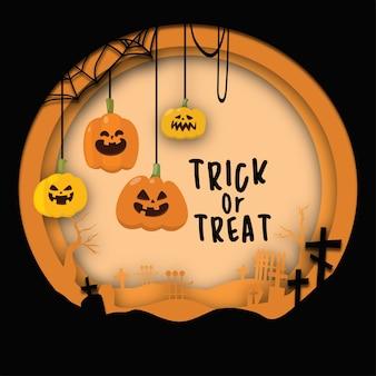 Sfondo design piatto per halloween con arte papercut