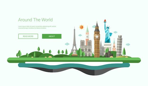 Banner design piatto, illustrazione di intestazione con monumenti di fama mondiale