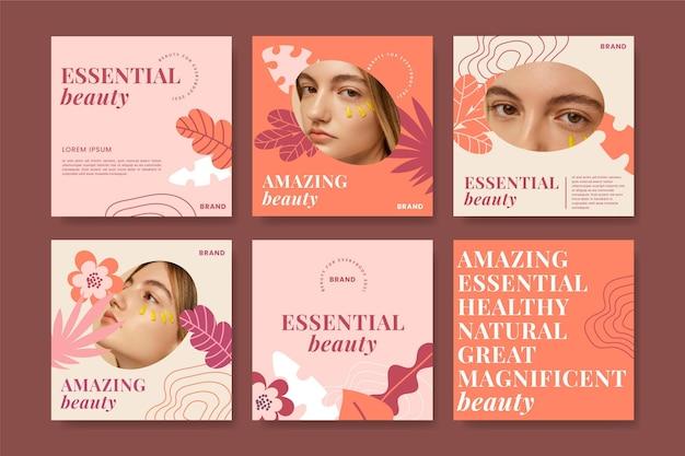 Pacchetto di post di instagram di bellezza design piatto