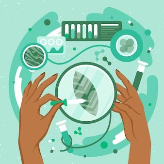 Concetto di biotecnologia design piatto