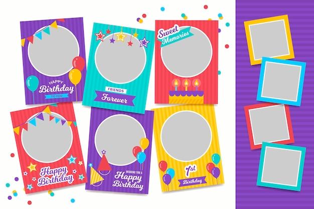 Collezione di cornici collage compleanno design piatto