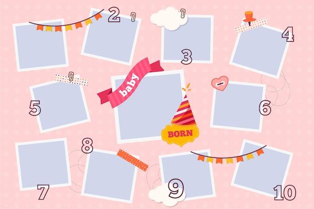 Pacchetto cornice collage compleanno design piatto