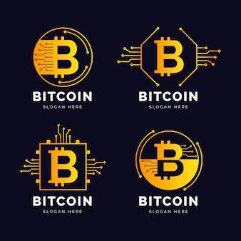 Pack di loghi bitcoin design piatto