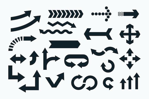 Set di frecce nere design piatto