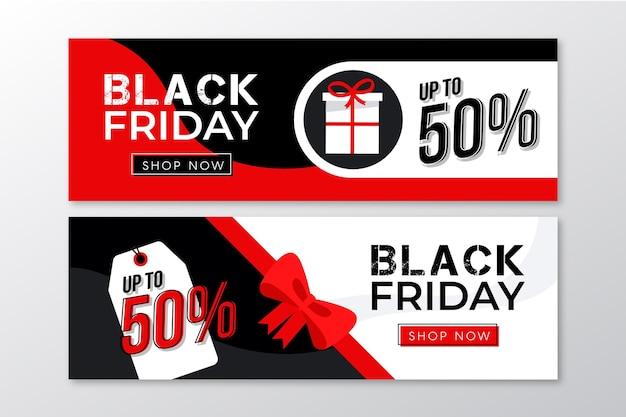 Modello di banner design piatto venerdì nero