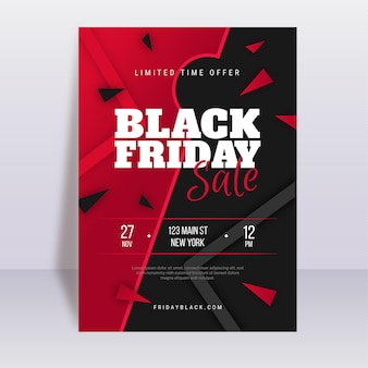 Modello di volantino venerdì nero design piatto