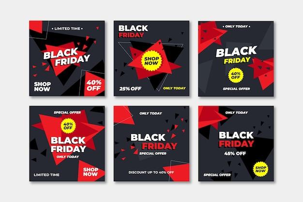 Collezione di post instagram venerdì nero design piatto