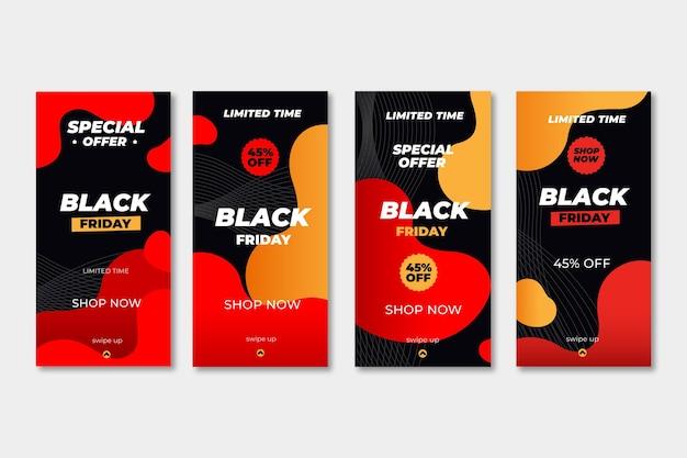 Collezione di storie di instagram di design piatto venerdì nero