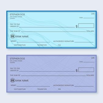 Modello di assegno in bianco design piatto