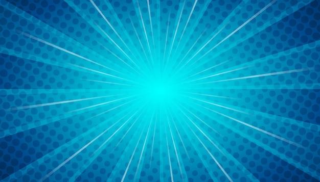 Sfondo blu in stile fumetto design piatto