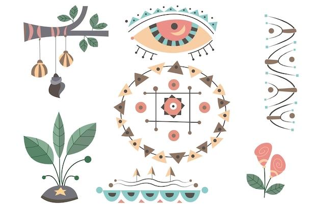 Collezione di elementi boho dal design piatto